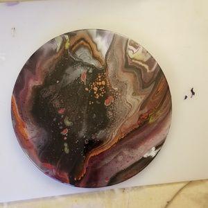 "NWT Handmade Acrylic Pour Lazy Susan 13.8"" Resined"